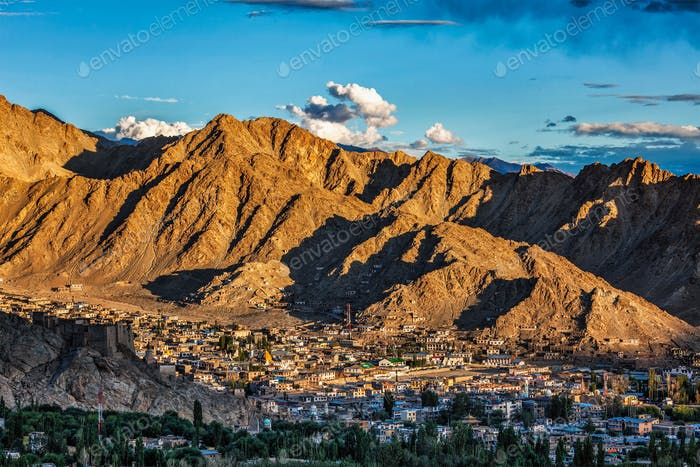 Aerial view of Leh town in Ladakh