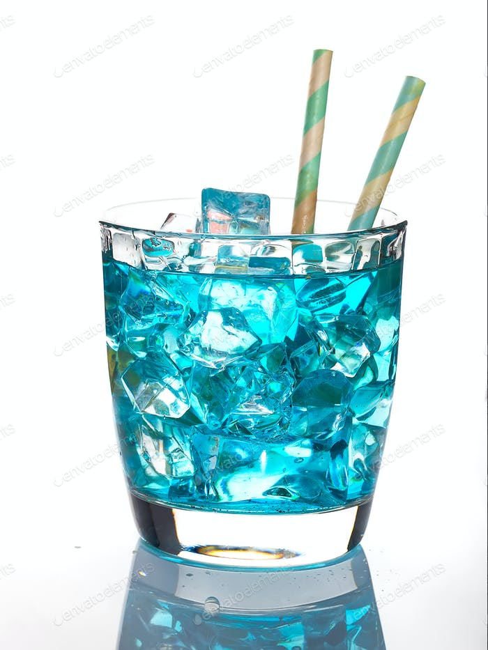 Blue Lagoon cocktail with ice isolated on white background