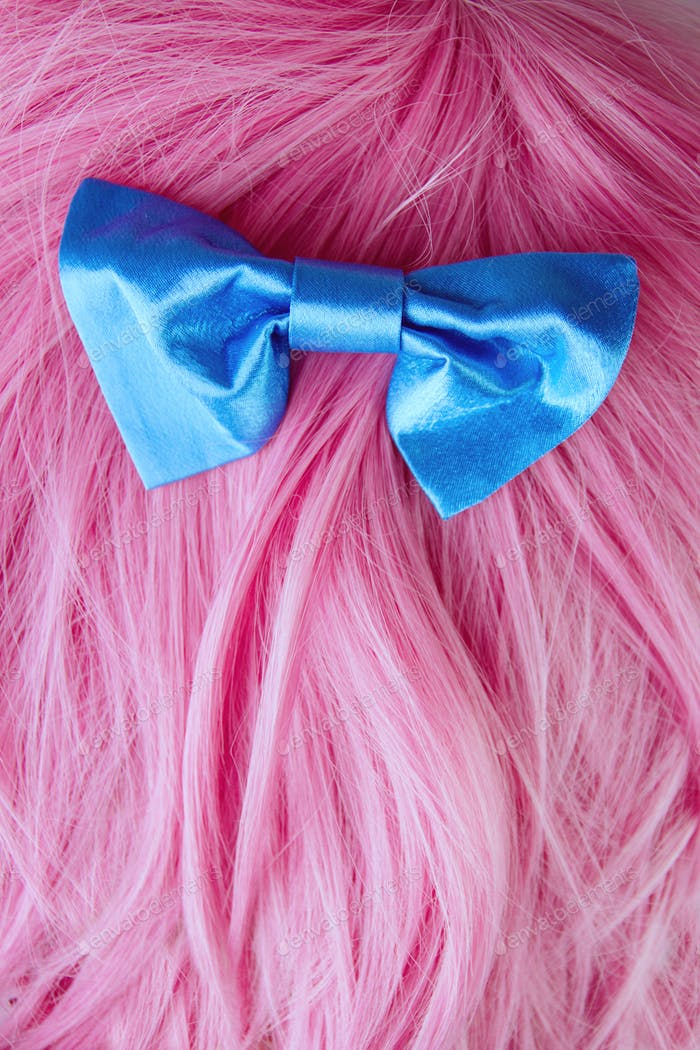 Pink hair with a blue hairbow