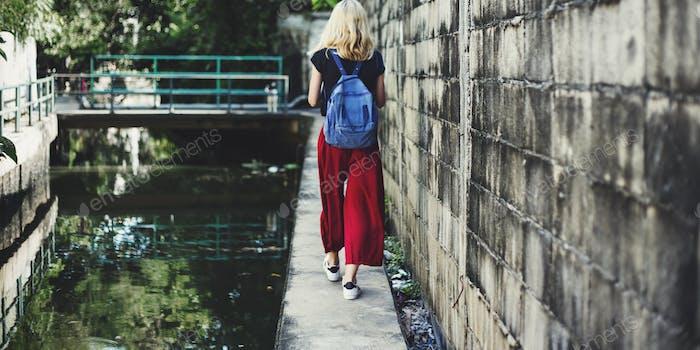 Woman Caucasian Traveler Tour Explore Canal Concept