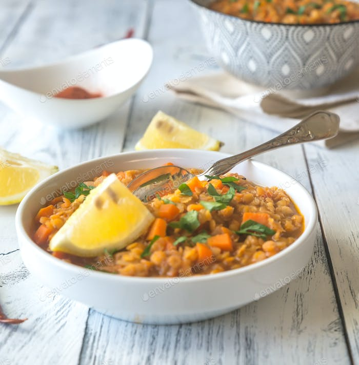 Smoked paprika red lentil stew