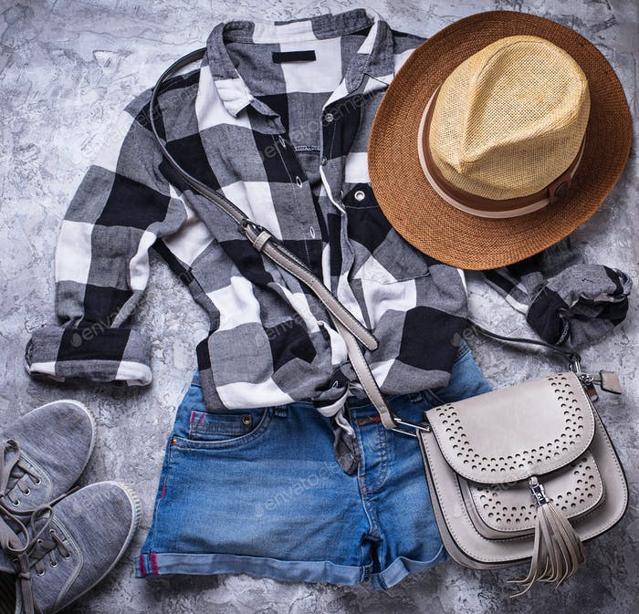 Summer girls hipsters outfit on gray background