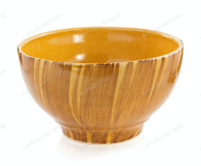 empty ceramic bowl on white