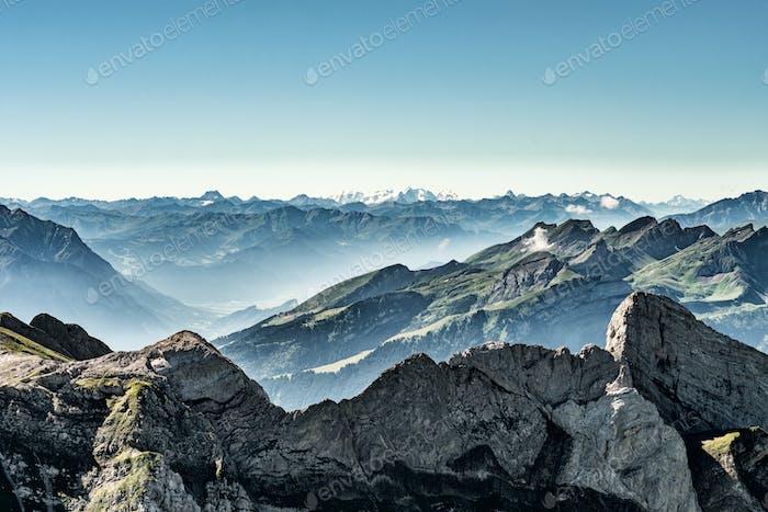 Mountain view from Mount Saentis, Switzerland , Swiss Alps.