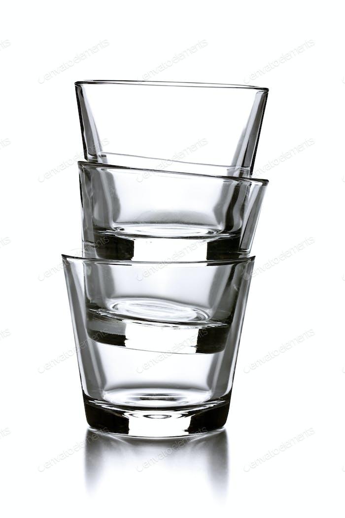 three empty glasses