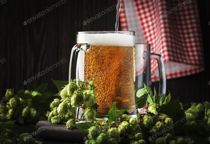 Gläser mit tschechischem helles Bier, dunkler Nachtbar, Hopfenzapfen und Rebe, selektiver Fokus