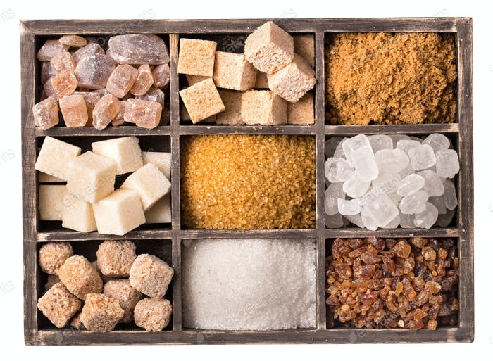 Box of various kinds of sugar