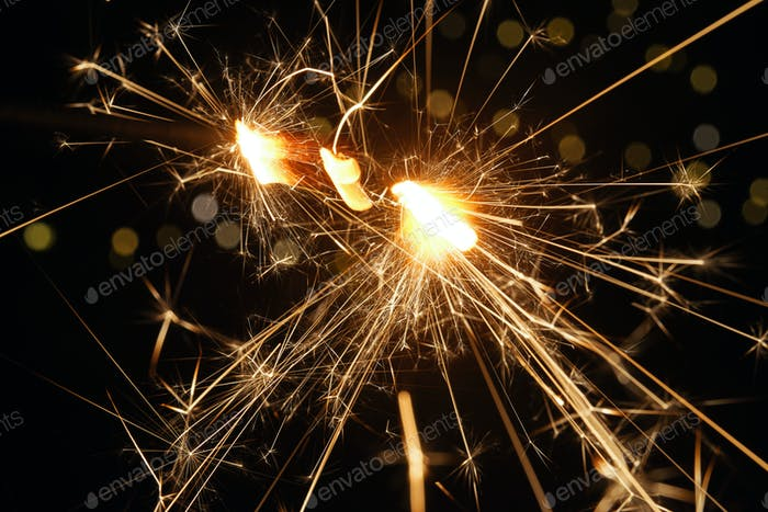 Close-up view of the light of sparkler