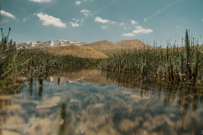 Picturesque mountain landscape with lake