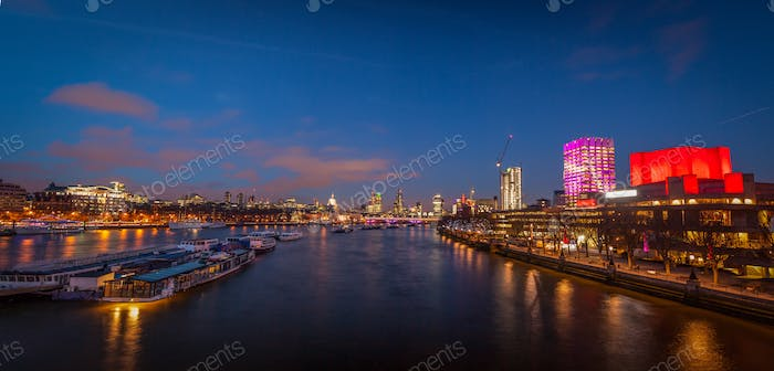 London panorama after sunset