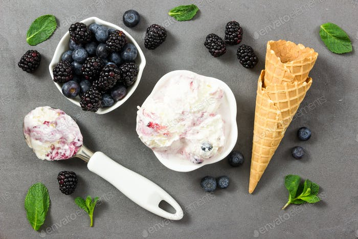 Fruit ice cream with fresh blackberry and blueberry and ice crea