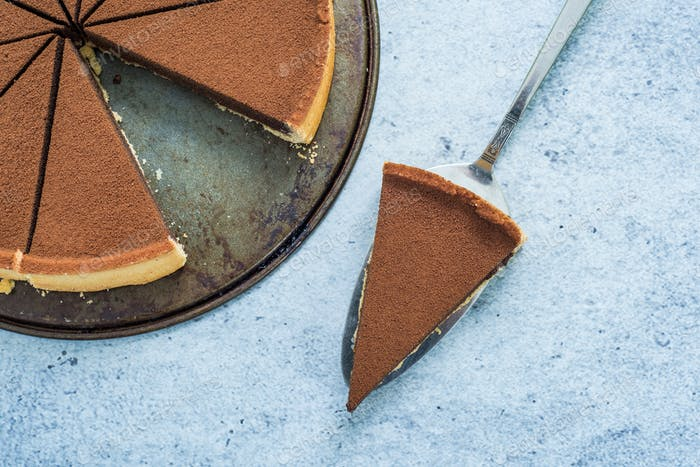 slice of chocolate crust cake