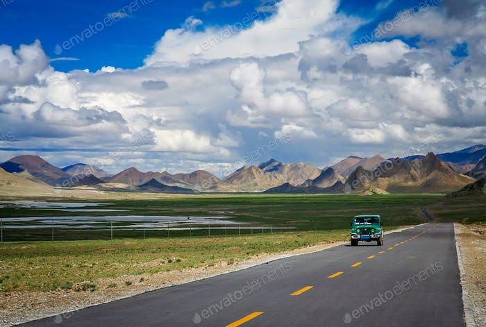 Four wheel drive on a road in Tibet