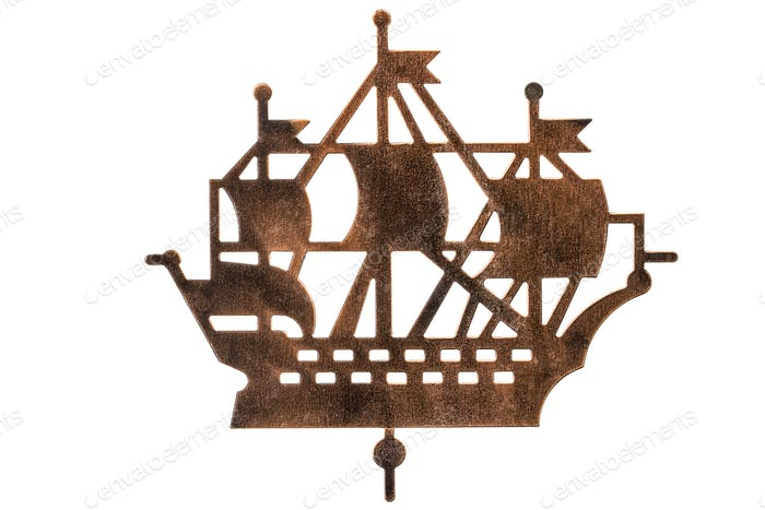 Silhouette of sailing ship, isolated on white background
