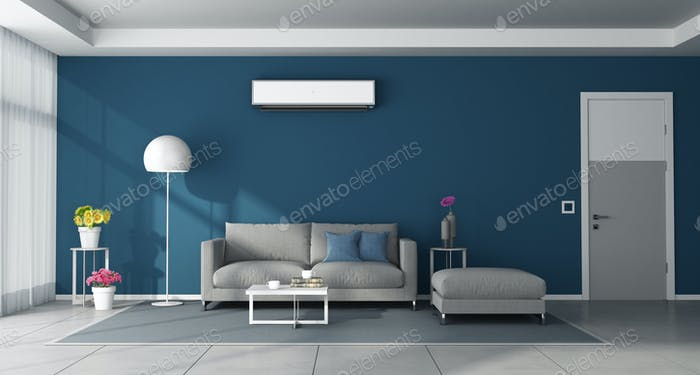 Modern blue living room with gray furniture and air conditioner