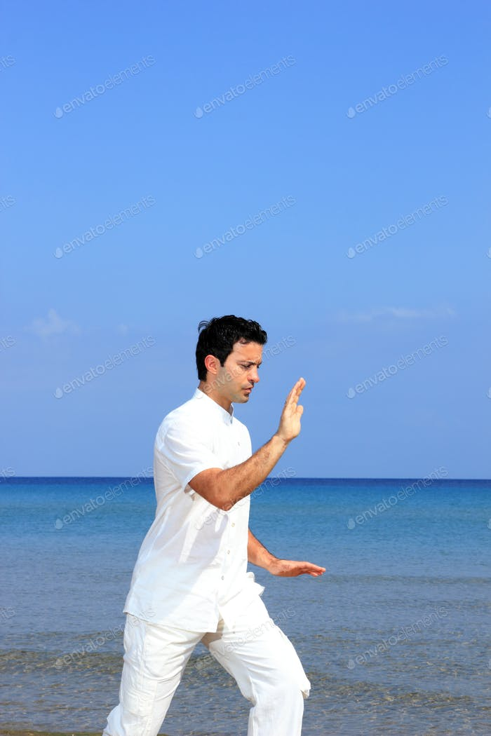 Handsome man practicing thai chi on the beach