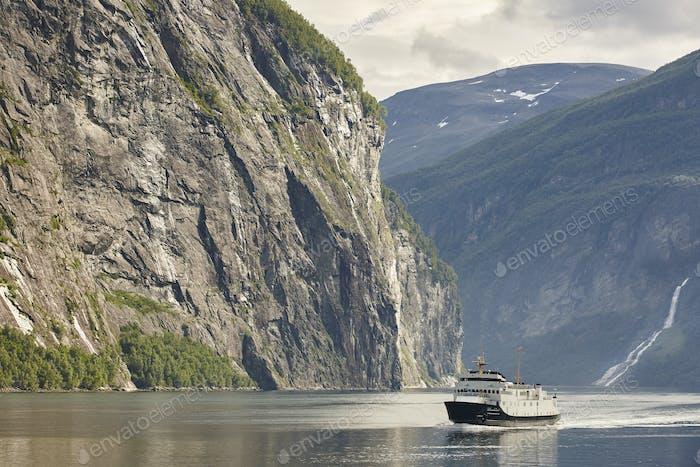Norwegian fjord landscape. Storfjorden. Hellesylt, Geiranger cruise travel. Tourism