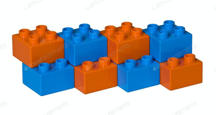 Blue and orange plastic toy bricks