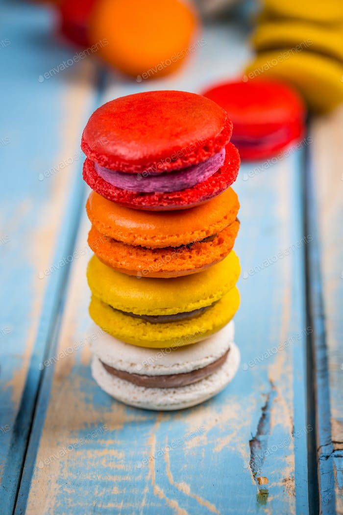 Tower of colorful macarons