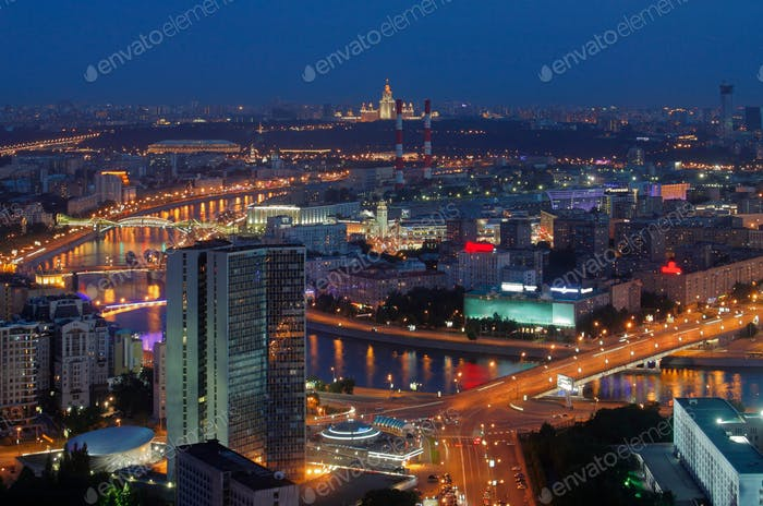 Night panorama from a height on the city of Moscow