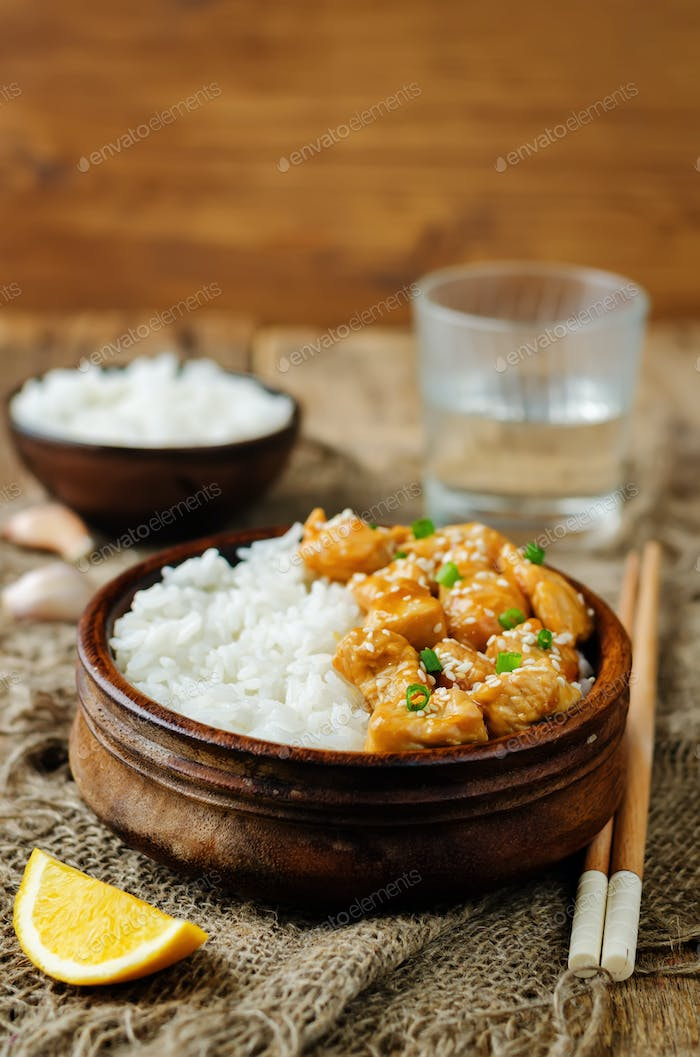 Orange glaze chicken with rice