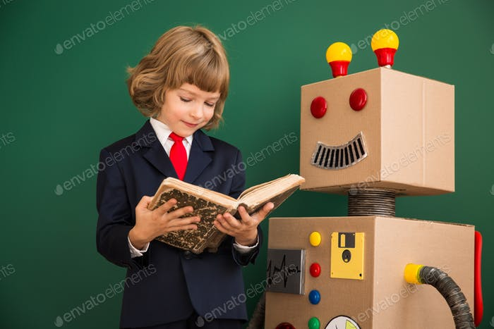 Kid with toy robot in school