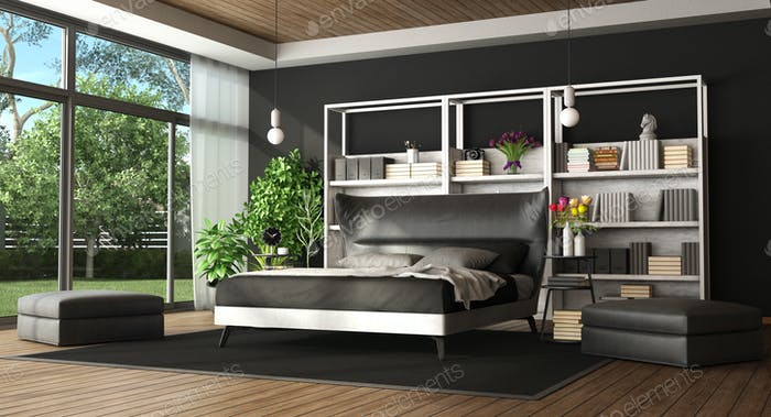 Master bedroom in a modern villa