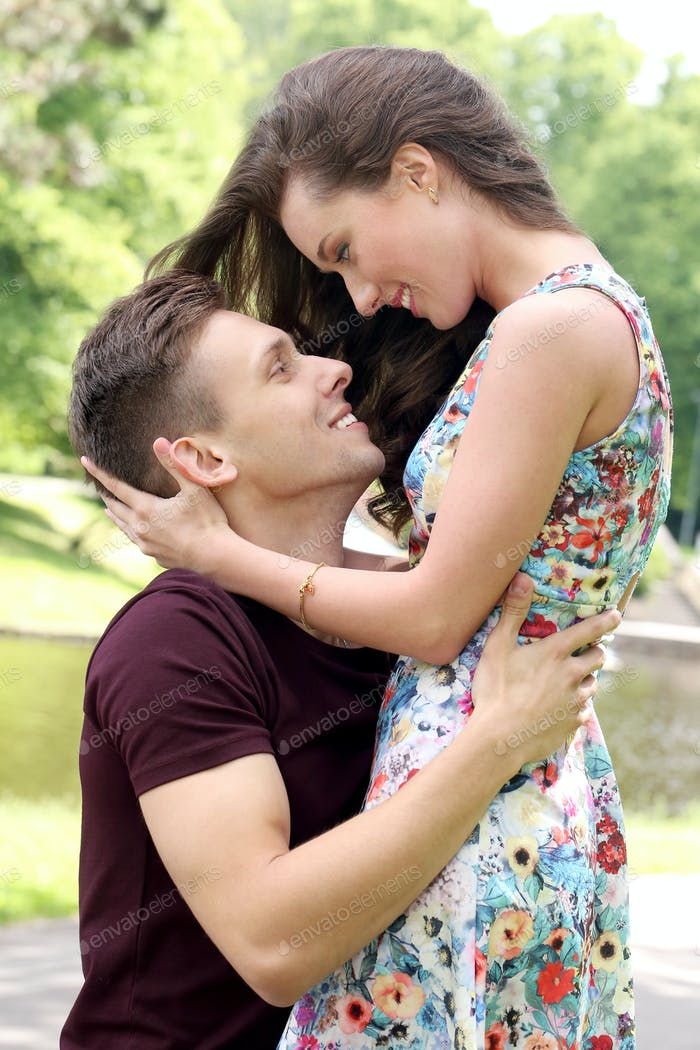 Beautiful couple in the park