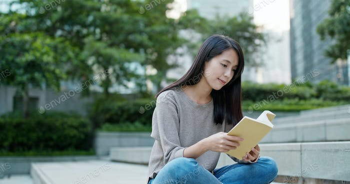 Woman read on the book