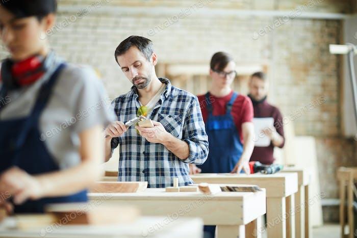 Measuring wooden detail