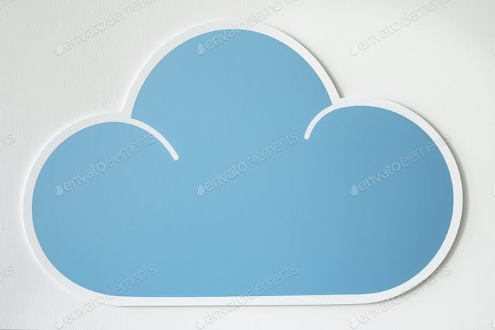 Blue cloud cut out icon