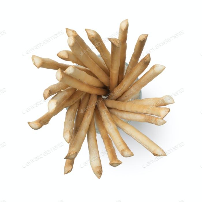 Italian breadsticks in a glass