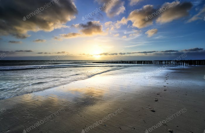 beautiful sunset over sea beach