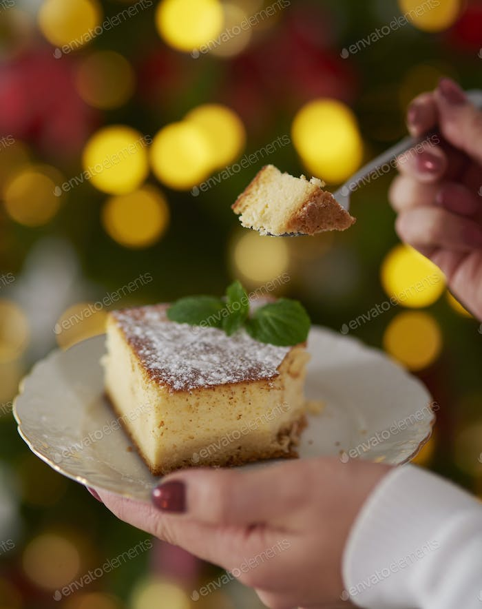 Piece of very delicious cheesecake