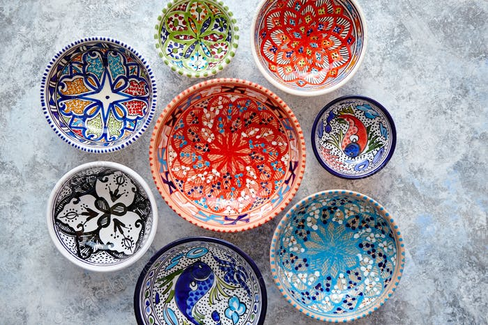 Collection of empty moroccan colorful decorative ceramic bowls