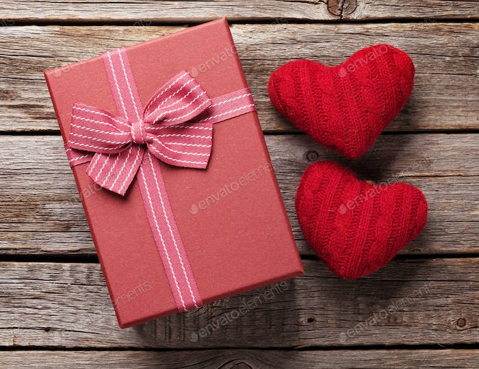 Valentines day gift box and hearts