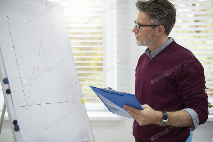 Worker analyzing very important information