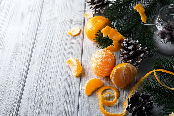 Tangerine and fir branches