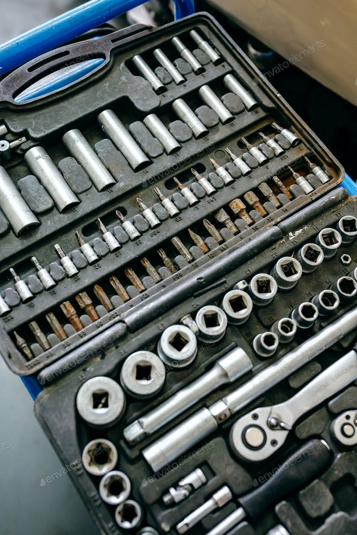 Detail of ratchet wrench tool case