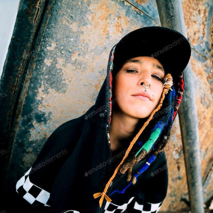 Young girl rap hip hop style. Urban Street Fashion