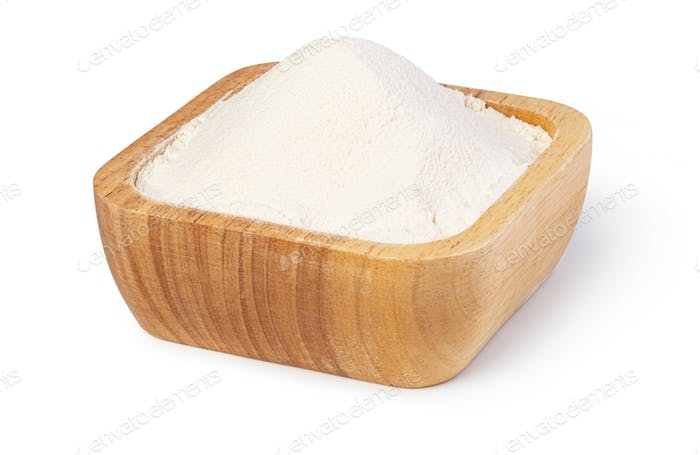 bowl of flour on white background