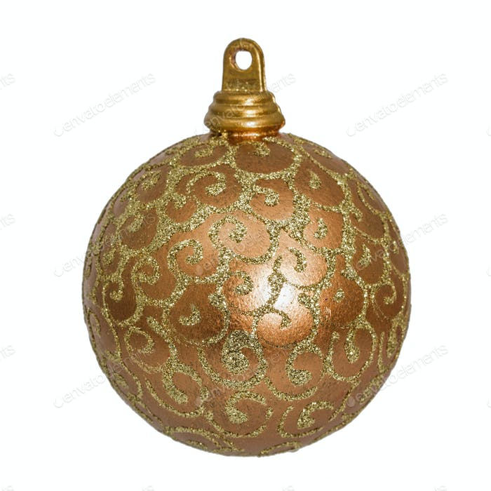 Beautiful gold Christmas ball, isolated on white background
