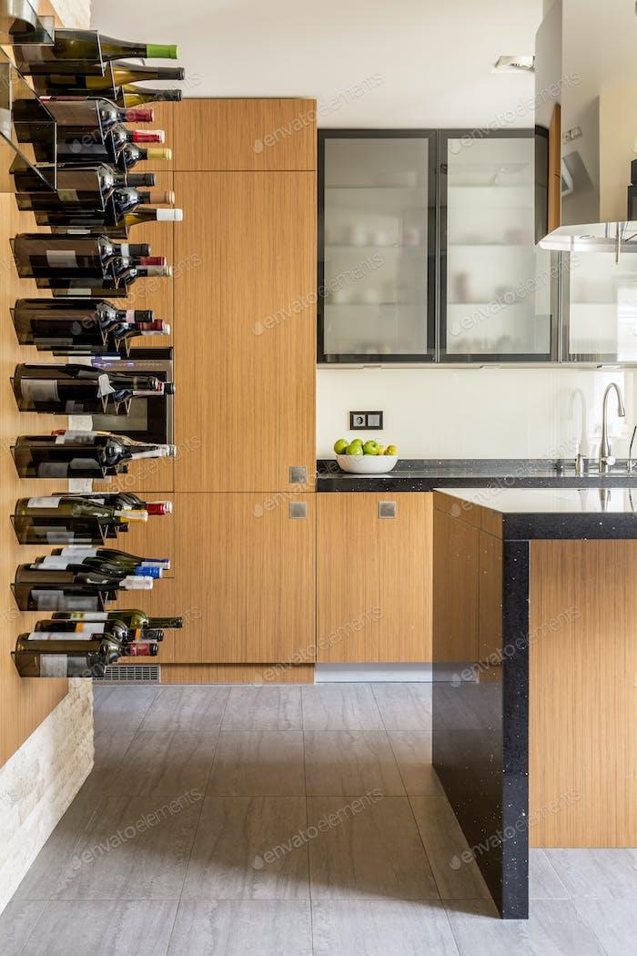 Modern kitchen with wine racks