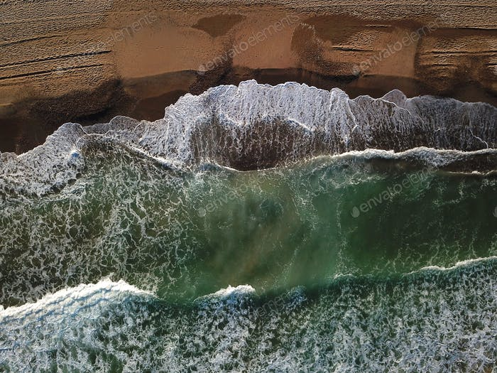 View of the sandy beach from the air. Spain, Valencia , playa el saler, Mediterranean sea