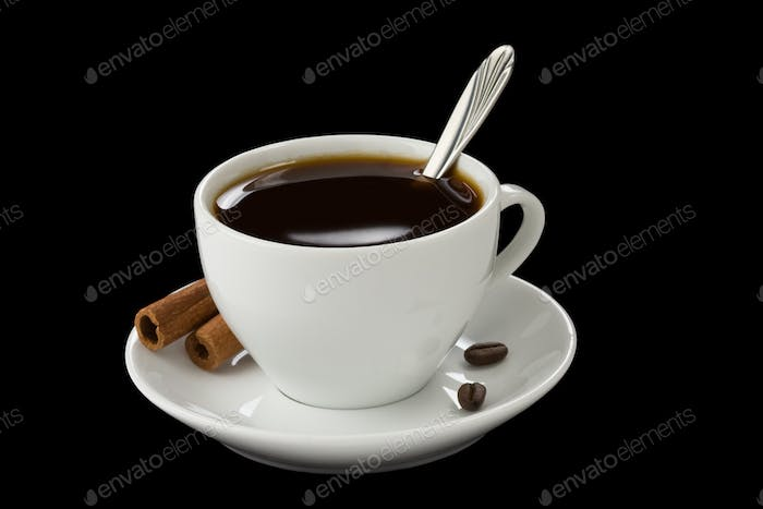 cup of coffee isolated on black