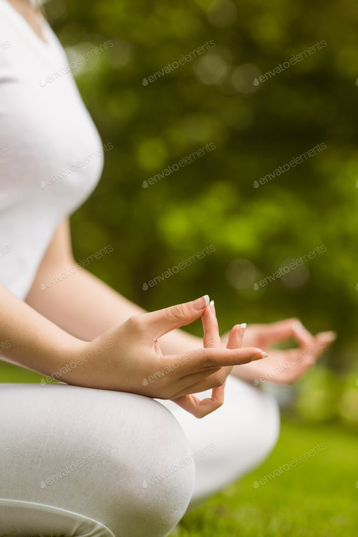 Side view mid section of healthy young woman sitting in lotus pose at park