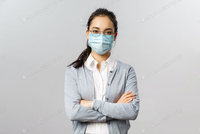 Covid19, virus, health and medicine concept. Portrait of young professional asian employee work on
