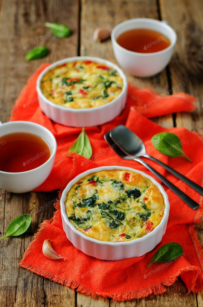Spinach Red Bell Pepper Baked Omelet with cups of tea and fresh