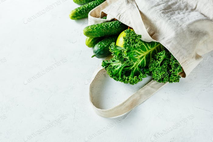 Modern canvas bag with green vegetables
