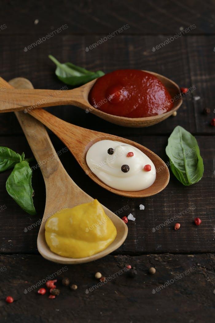 Ketchup, Mustard and Mayonnaise Sauce
